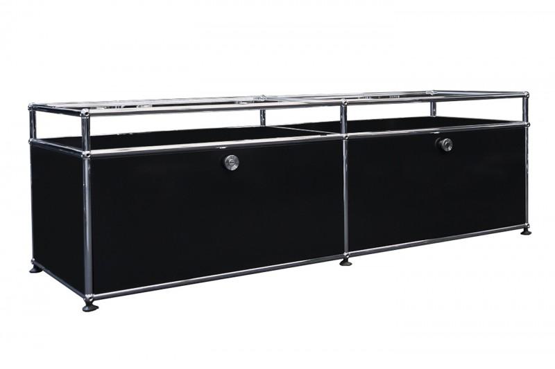USM Haller TV-Board / Lowboard mit Glastablaren Graphitschwarz RAL 9011