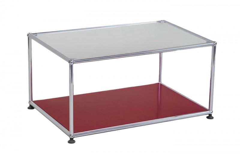 USM-Haller Beistelltisch Glas / Satiniert / USM Rubinrot 75 x 50 cm
