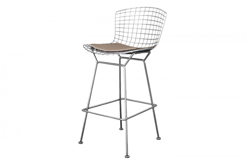 Knoll International Bertoia Barhocker Stoff / Braun