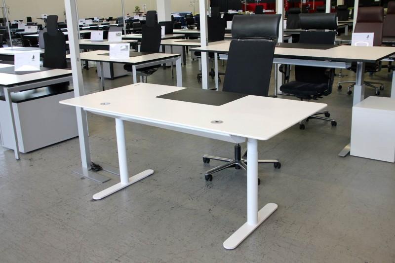 Schreibtisch elektrisch höhenverstellbar Kunstharz / Weiß 180 x 90 cm