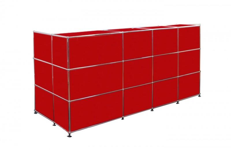 USM Haller Mostrador con Pantalla de Privacidad Rojo Rubí USM