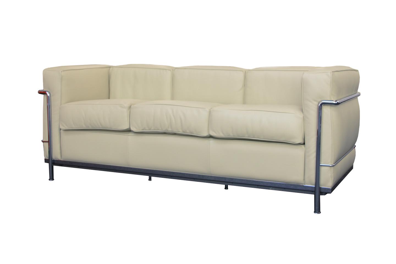 Cassina LC21 Le Corbusier Three Seater Sofa Leather / Beige