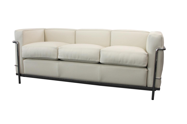 Cassina LC21 Le Corbusier Three Seater Sofa Leather / Light Beige