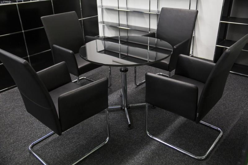 USM-Kitos Konferenztisch Glas / Schwarz Ø 90 cm