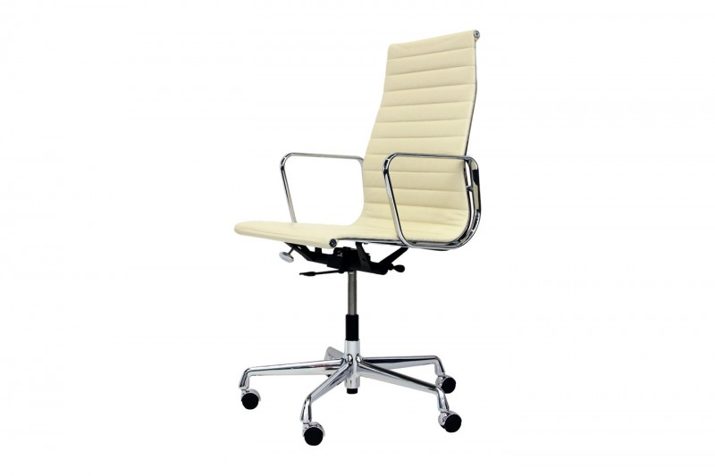 Vitra Aluminium Group EA 119 Chair Leder / Creme-Weiß