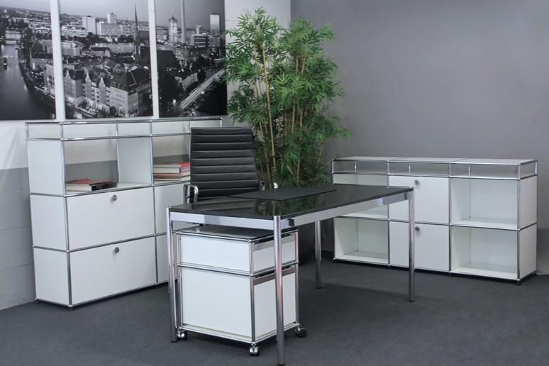 USM Haller Granit / Schwarz Schreibtisch 150 x 75 cm