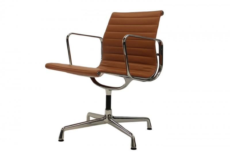Vitra Aluminium Chair EA 108 Besucherstuhl Leder / Braun