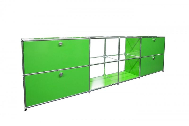 USM Haller Sideboard mit Glasfächern USM Grün