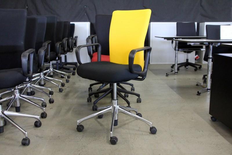 Vitra T-Chair Bürodrehstuhl Stoff / Schwarz / Gelb