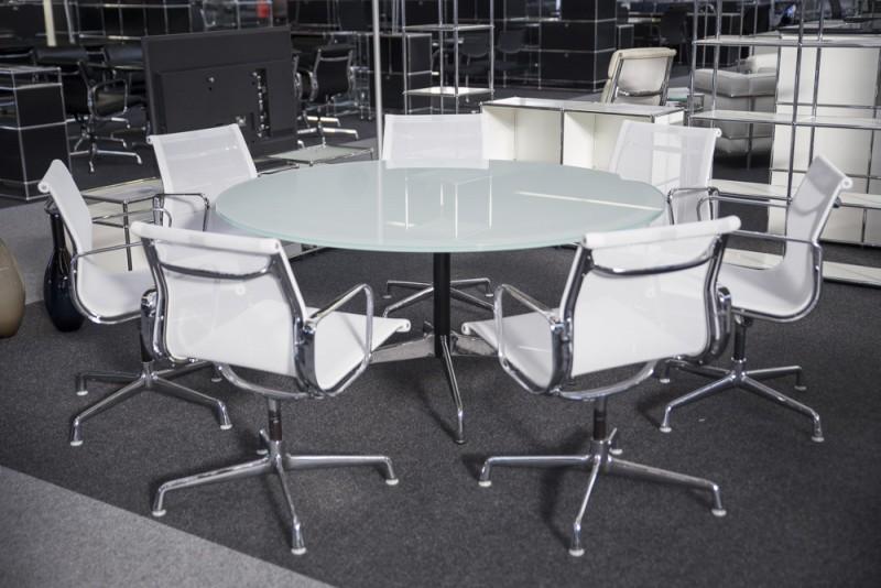 Vitra Konferenztisch Glas / Weiß Ø 150 cm