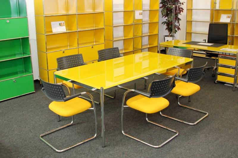 USM Haller Schreibtisch / Konferenztisch Glas / Gelb 200 x 100 cm