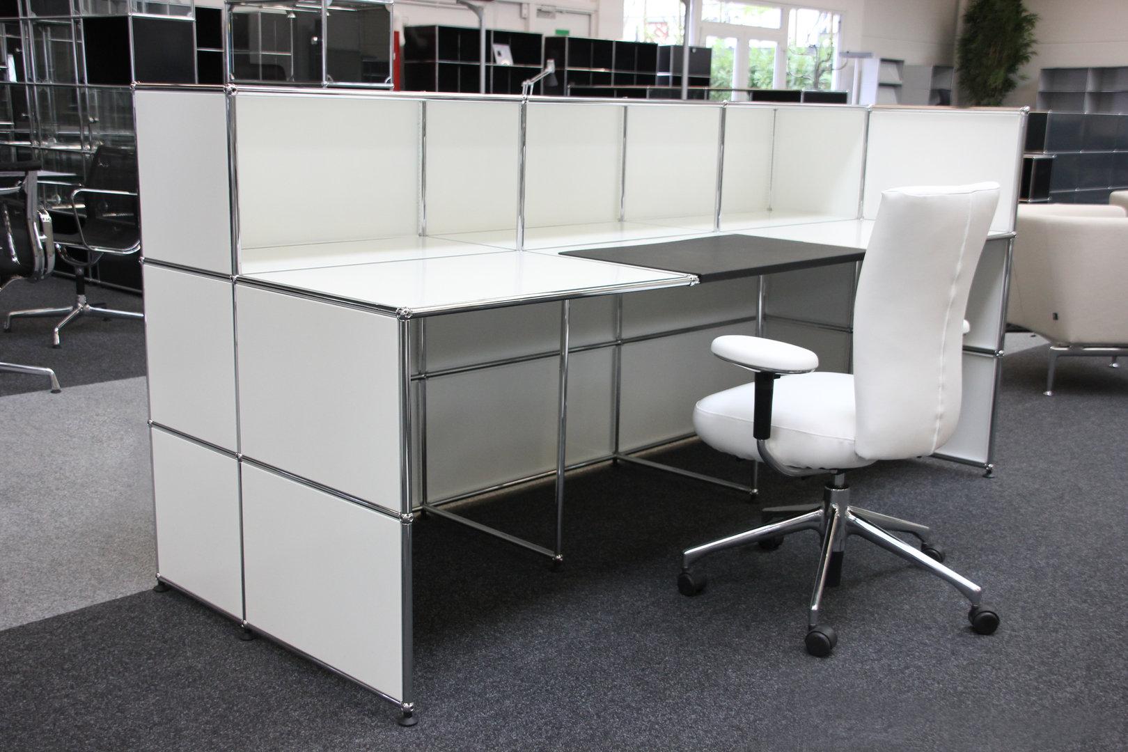 usm haller theke empfangstheke mit integriertem arbeitsplatz reinwei ral 9010 theken usm. Black Bedroom Furniture Sets. Home Design Ideas
