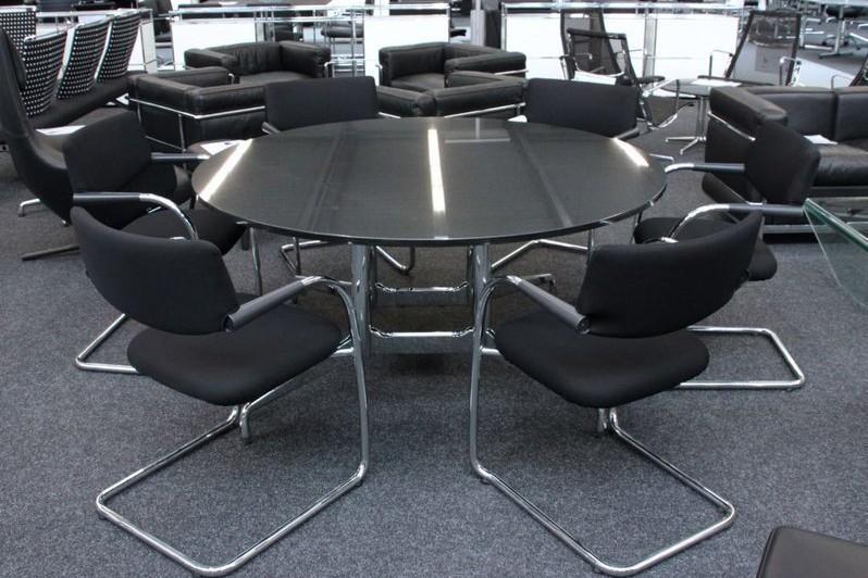 Vitra Konferenztisch Granit / Schwarz Ø 150 cm