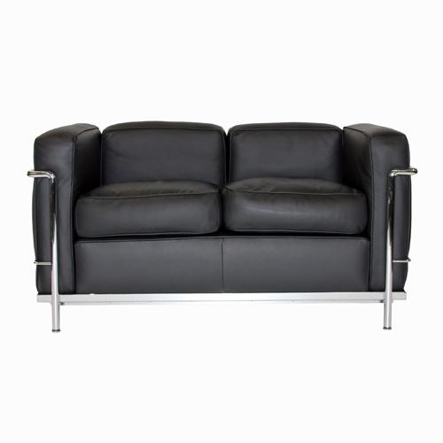 LC2-Sofa-Leder-Schwarz