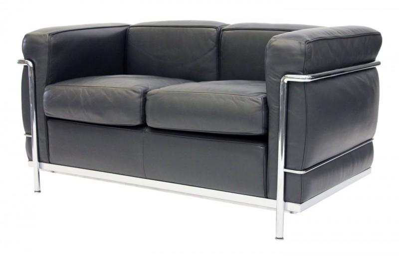 Cassina LC2 Le Corbusier 2-er Sofa Leder / Grau