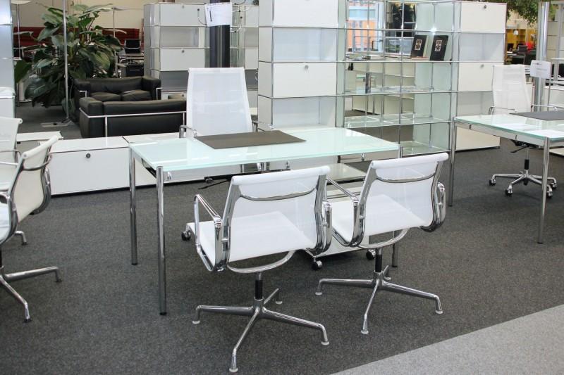 USM Haller Glas / Weiß Schreibtisch 150 x 75 cm