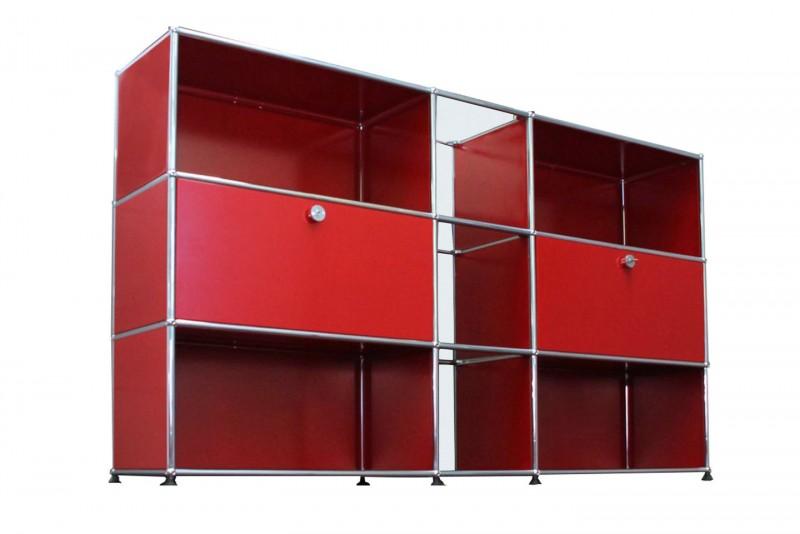 USM Haller Sideboard / Highboard mit Glasfächern USM Rubinrot