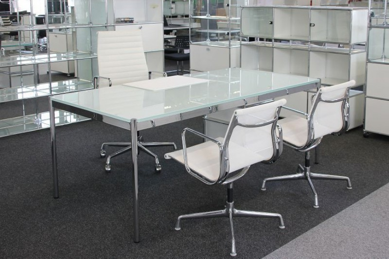 USM Haller Glas / Weiß Schreibtisch 200 x 100 cm