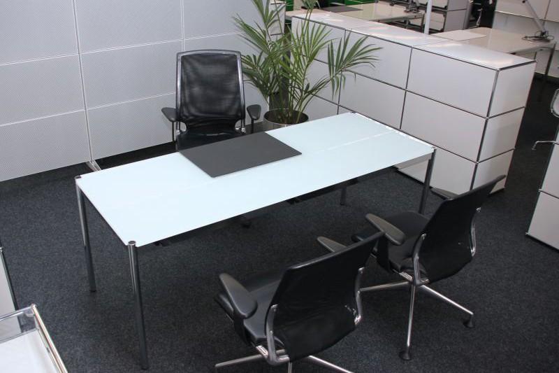 USM Haller Glass / White Desk 200 x 75 cm