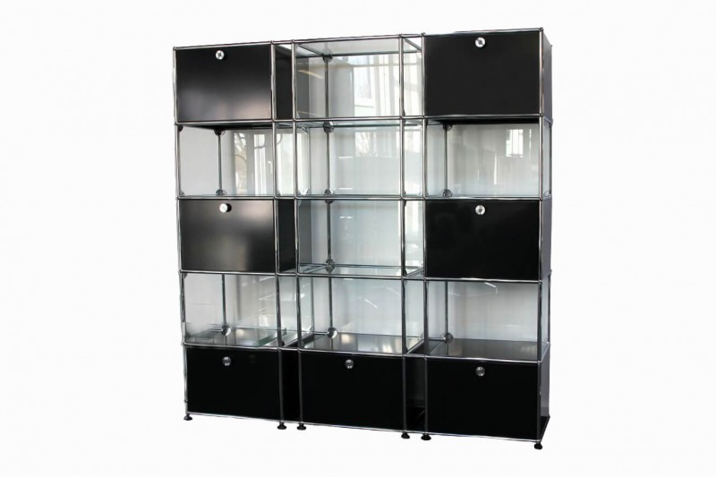 USM Haller Wall Shelf with Glass Elements Graphite Black RAL 9011