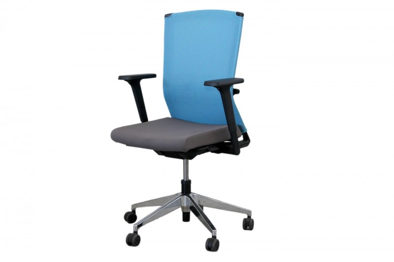 Haworth® Comforto Dynaflex Bürodrehstuhl Stoff / Netz / Blau / Grau