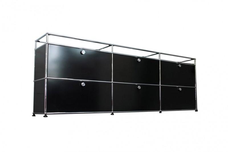 USM Haller Sideboard mit Glastablaren Graphitschwarz RAL 9011