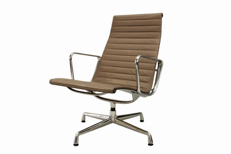 Vitra Aluminium Group Chair EA 116 Leder / Beige