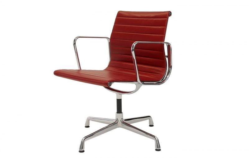 Vitra Aluminium Chair EA 108 Besucherstuhl Leder / Rot