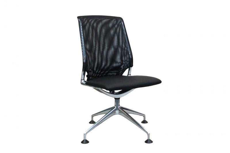 Vitra Meda Chair Conference / Leather / Mesh / Black