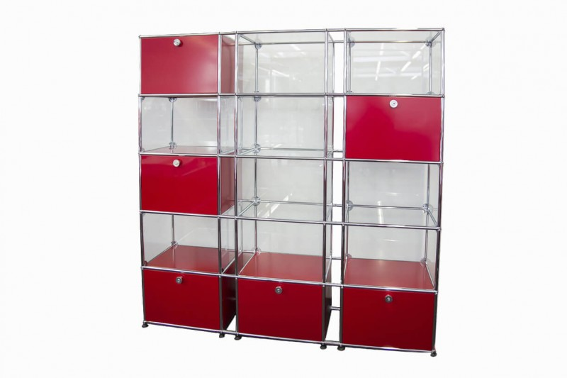 USM Haller Wall Shelf with Glass Elements USM Ruby Red