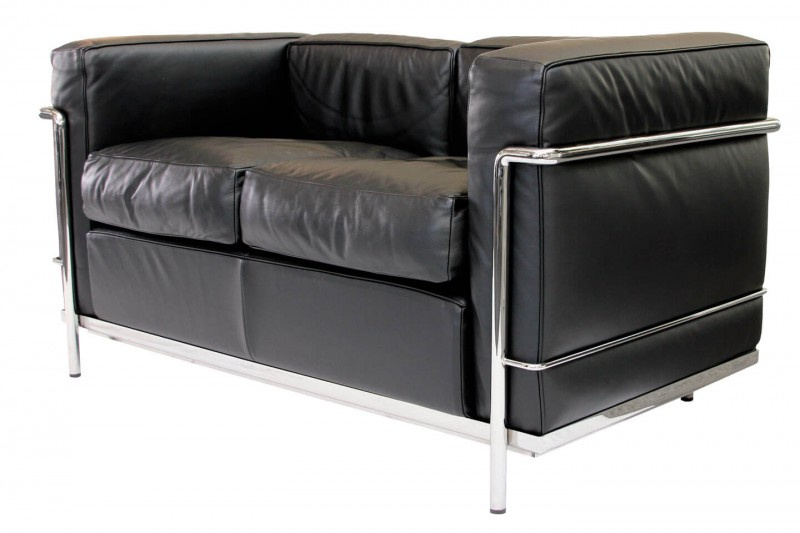 Cassina LC2 Le Corbusier 2-er Sofa Leder / Schwarz