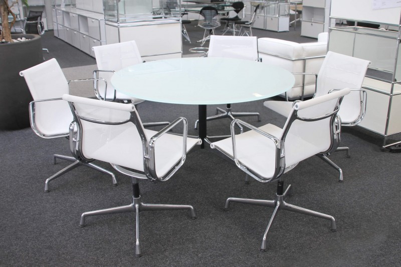 Vitra Conference Table Glass / White Ø 130 cm