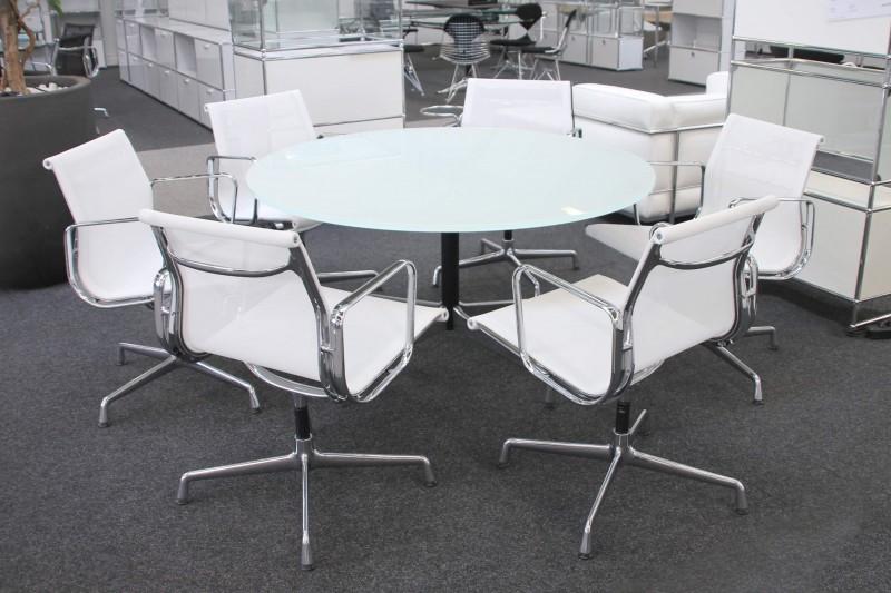 Vitra Konferenztisch Glas / Weiß Ø 130 cm