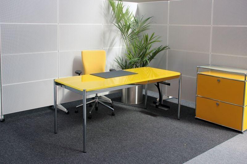 USM Haller Schreibtisch Glas / Gelb 175 x 75 cm