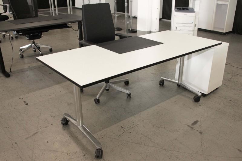 WINI Twister Klapptisch / Schreibtisch Kunstharz / Weiß 180 x 80 cm