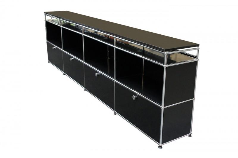 USM Haller Sideboard mit Granitplatte Graphitschwarz RAL 9011