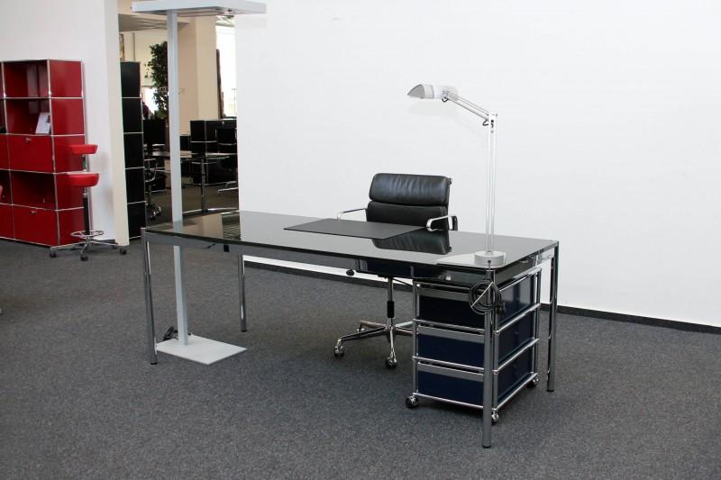 USM Haller Glas / Schwarz Schreibtisch 200 x 75 cm