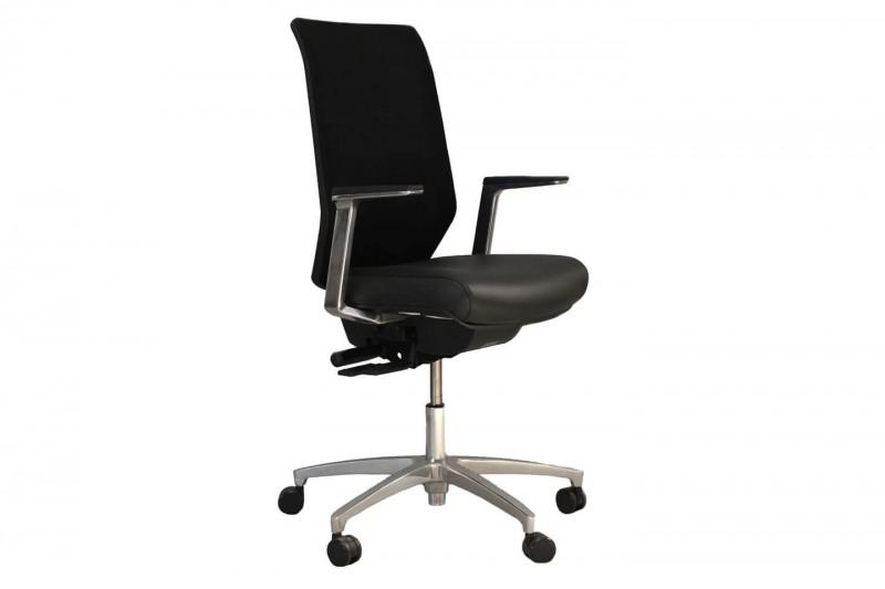 Bürodrehstuhl Dauphin Shape Mesh SH 3725 Netz / Leder / Schwarz