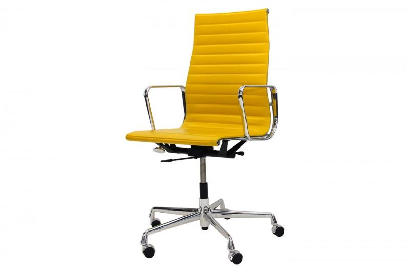 Vitra Aluminium Group EA 119 Chair Leder / Gelb