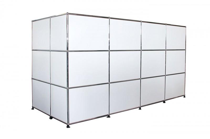 USM Haller Mostrador con Pantalla de Privacidad Blanco Puro RAL 9010
