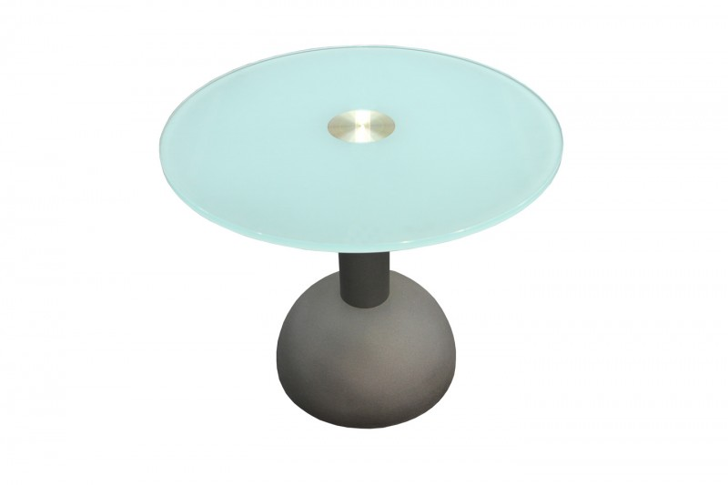 Designer Beistelltisch / Besprechungstisch Glas / Metall Ø 70 cm